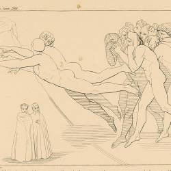 A crowd of righteous guilties for their negligence during their lives rush to Dante and Virgil (Canto XVIII. Plate 22)