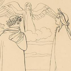 When Dante is about to leave the circle fo angry souls, he feels a flutter that refreshes him (Canto XVII, Plate 21)