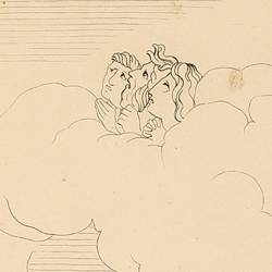 Upon reaching the circle of angry souls, Dante, blinded by the smoke they exhale, rests on Virgil's shoulder