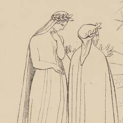 Souls radiant with joy and splendor advance towards Dante and Beatrice (Canto V. Plate 5)