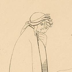 Two spirits leaning on each other deal with the two poets as they see how they approach them (Canto XIV. Plate 18)