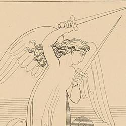Two angels armed with flaming swords guard the entrance of the valley (Canto VIII. Plate 11)