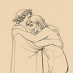 Sordello and Virgilio throw themselves into each other's arms (Canto VI. Plate 9)