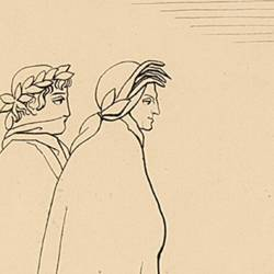 When seeing Dante and Virgil the souls recoil of surprise (Canto III. Plate 6)