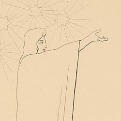 Virgil with his gestures and his words invites Dante to greet the shadow of Cato (Canto I. Plate 1)