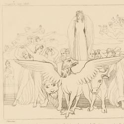 Dante sees the reflected image of a tap in the eyes of Beatriz (Canto XXXI. Plate 35)
