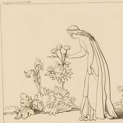 Matilda sings in earthly paradise while picking flowers (Canto XVIII. Plate 32)