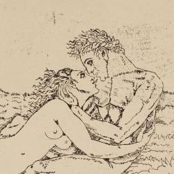 Pareja desnuda besándose