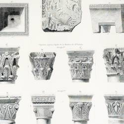Ducal atrium remains and capitals, Sta- Eulalia's tombstone and corbel (Mérida)