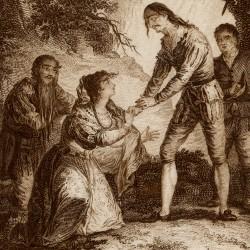 Don quixote receives the princess Micomicona (7th plate)
