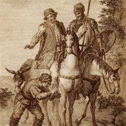 Don Quixote meets the Knight of the Green Overcoat (13th plate)
