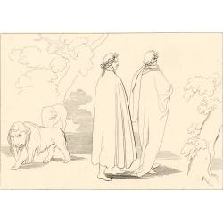Dante, guided by Virgil, sets out on his journey to hell (Chapter I. Plate 1)