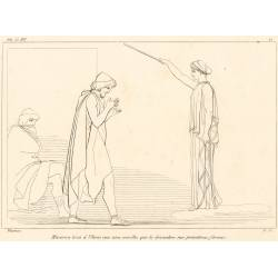 Minerva touches Ulysses with a rod that restores his primitive forms (Book XVI. Plate 25)