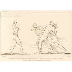 Irus the beggar retreats after having provoked Ulysses (Book XVIII. Plate 27)