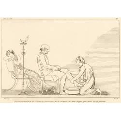 Euryclea recognizes Ulysses by a scar (Book XIX. Plate 28)