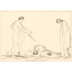 Aegisthus and Clytemnestra deaths (The Libation Bearers. Act III. Plate 21)