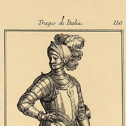 Outfit of a 16th century soldier, armed for horseback riding
