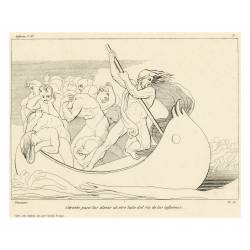 Charon passes the souls to the other side of the hell's river(Chapter III. Plate 3)