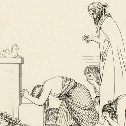 The Danaides are placed under the shelter of the altars on the advice of Danaus (The Suppliants. Act II. Plate 8)