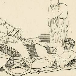 Queen Atossa dreams of seeing Xerxes knocked off his chariot (The Persians. Act II. Plate 29)
