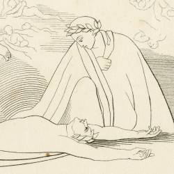Dante upon hearing the fatal love affairs of Francesca of Rimini and Paul falls fainted at her feet (Chapter V. Plate 6)