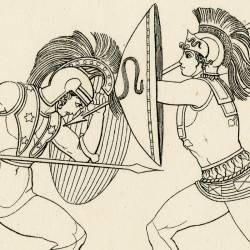 Combat of Esteoclo and Polynice (Seven Against Thebes. Act III. Plate 13)