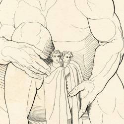 The Giant Antes leaves Dante and Virgilio in the ninth circle (Chapter XXXI. Plate 33)