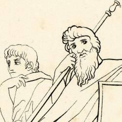 Ulysses shudders when he hears the story of the siege of Troy sung by the blind Domodo (Book VIII. Plate 13)