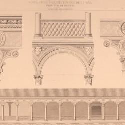 Longitudinal section and details of the archiepiscopal palace (Alcalá de Henares)