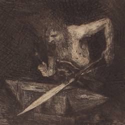 Siegfried. Mime forging the sword
