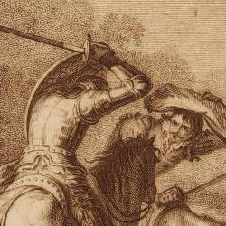 Don Quixote fighting with the Biscaynan (3rd plate)