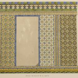 Palace called Las Dueñas in Seville, tiles in the sockets of the chapel and in the arches of its entrance (Sevilla)