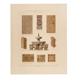 Fuente central y detalles de maderas y mármoles [...] del Patio de los Leones [...] (Granada)