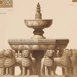 Central fountain and details of wood and marble from the Court of the Lions (Granada)