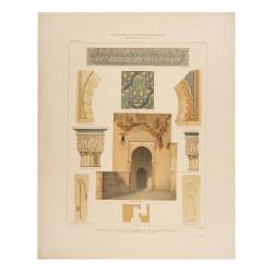 Plan, elevation and details of the Puerta de la Ley, Burgo de la Justicia in the Alhambra (Granada)
