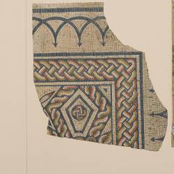 Plant, set and details of the mosaic from Galatea discovered in 1861 (Elche)