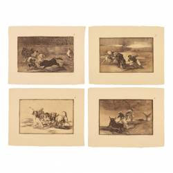 Complete collection of Tauromaquia in sepia ink.