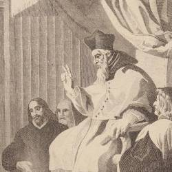 Saint Bruno and his disciples in front of the bishop of Grenoble