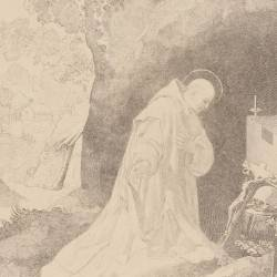 Saint Bruno praying in the Chartres desert . Picture Nº 3