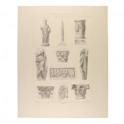 Triumphal column, ara, statues, capitals, architectural fragments and low-reliev (Mérida)