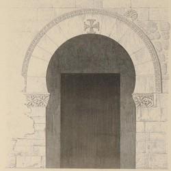 Ground plan, facade, longitudinal section and details of the Church of San Juan (Baños)