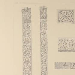 Architectural members and decorative fragments of the metropolitan atrium (Mérida) (Capitals details and pilasters)