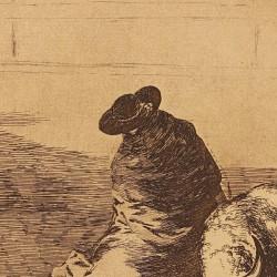 El diestrísimo estudiante de Falzes, embozado burla al toro con sus quiebros (Tauromaquia Nº14)