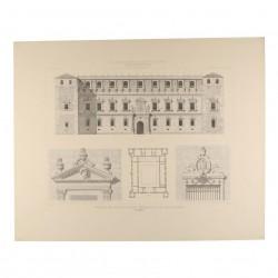 Fachada del norte, planta y detalles, en el Real Alcázar (Toledo)