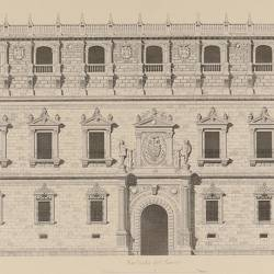 North facade, ground plan and details in the Real Alcazar (Toledo)