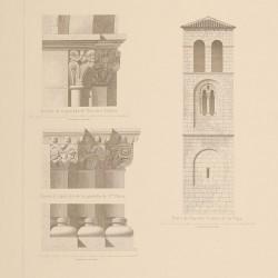 Portadas, torre y detalles de las iglesias de Santa Clara, San Juan y Nuestra Señora de la Vega (Oviedo)