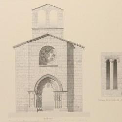 Imafronte, corte longitudinal y detalles de la Iglesia parroquial de Villaviciosa (Concejo de Villaviciosa)