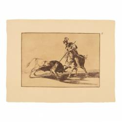 El Cid Campeador spearing another bull (Tauromaquia Plate 11)