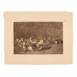 A single bull run over two picador groups (Tauromaquia Plate 32)