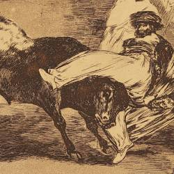 A Moor Caught by the Bull in the ring (Tauromaquia Plate 8)